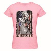 Marilyn Monroe tatuaje ee.uu. bandera americana camiseta mujer de Top del o-cuello de encargo de algodón tapa del verano de diseño