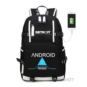 Image 2 - WISHOT Game Detroit: become human Backpack rk800 bag Shoulder travel School Bag USB Charging Laptop bag Luminous bag