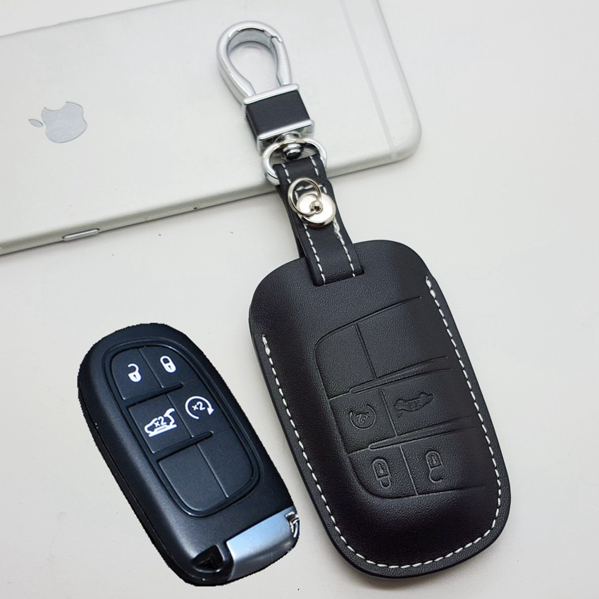 leather car key fob cover case  chrysler   jeep grand cherokee longitude key chain