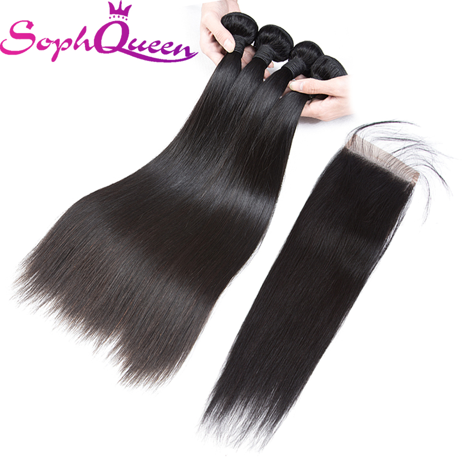 Soph Queen Hair Indian Straight Bundles With Closure Unprocessed Virgin Hair Weave Bundles With Closure Natural