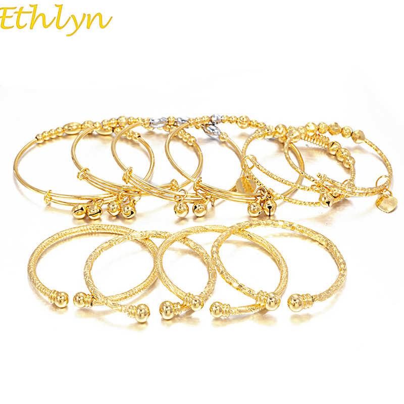 Ethlyn Christmas Gift Small Bangles Girls Baby  Harmony Lovely Gold Color Charm Beads Bracelet Bell Heart Jewelry Child Party