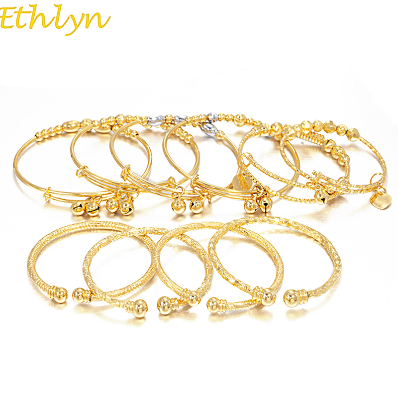 Ethlyn Christmas Gift Small Bangle for Girls/Baby Gold Colors