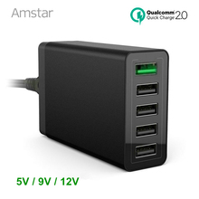 Amstar Quick Charge 2.0 5V/9V/12V Multi-Port USB Desktop Charger 40W 5-Port USB Charging Station for iphone7 6s Galaxy S7 S6