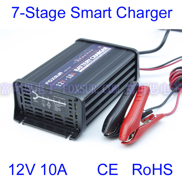 FOXSUR wholesale original 12V 10A 7-stage smart Lead Acid Battery Charger Car battery charger Input voltage: 180-260V AC, 50Hz new 220v input 30a 12v car battery charger motorcycle charger 12v lead acid charger eu plug wholesale