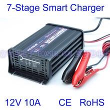Foxsur atacado original 12 v 10a 7 fase inteligente chumbo ácido carregador de bateria carregador de bateria de carro tensão de entrada: 180 260 v ac, 50 hz