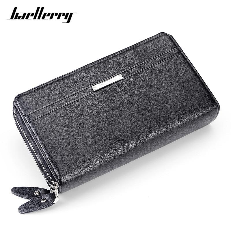 Baeller Clutch Wallets Men Business Big Capacity Purse Double Zipper Poucht Coin Pocket Applied Mans Wallet Credit Card Holder
