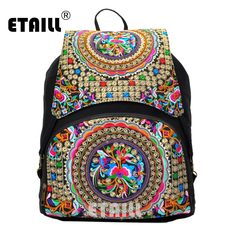 ETAILL Vintage Embroidery Ethnic Canvas Backpack Women Handmade Flower Embroidered Travel Bags Schoolbag Backpacks Rucksack