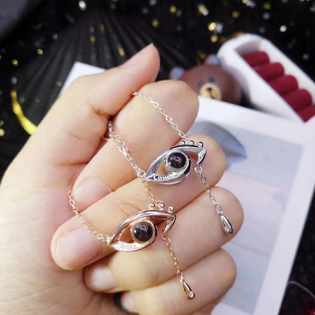 I love you 100 languages projection necklace personality fashion eyes tears pendant silver / rose gold necklace women jewelry