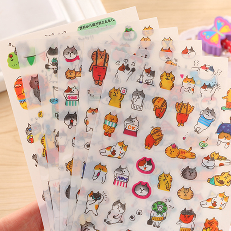 6Sheets/pack Cartoon Cats Decoration Sticker Set Transparent  Kitten Stickers For Diary Scrapbooking Stickers School Stationery