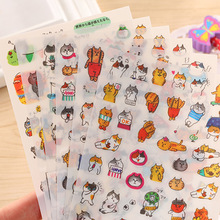6Sheets/pack Cartoon Cats Decoration Sticker Set Transparent  Kitten Stickers for Diary Scrapbooking School Stationery