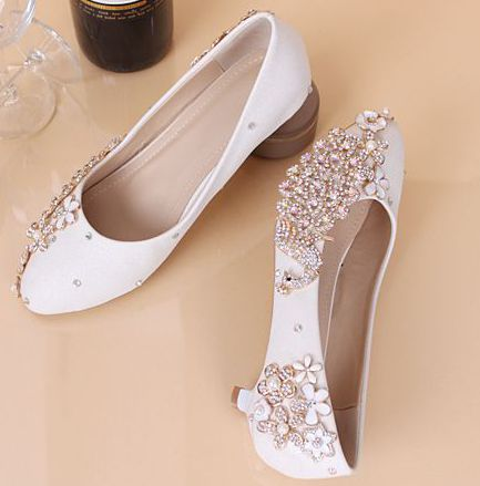 Crystal rhinestones shoes for woman round toe med high heels female ladies...