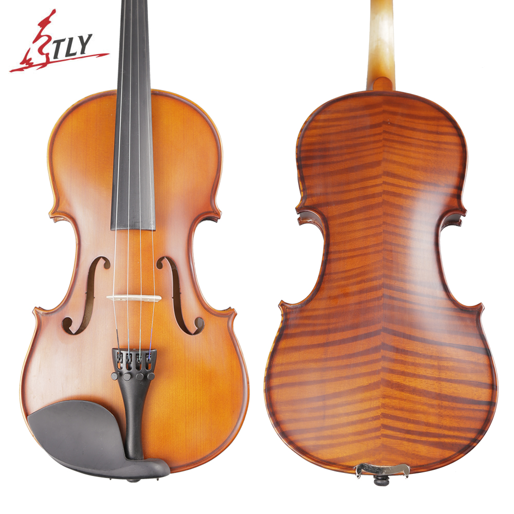 TONGLING Brand Art Stripes Maple Acoustic Violin Violino Fiddle Stringed Instrument with Full Accessories for Beginner Students image