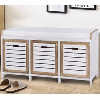 Giantex Shoe Stool Storage Bench 3 Storage Organizer Bench Cushion Seat Ottoman Hallway Living Room Furniture HW57056
