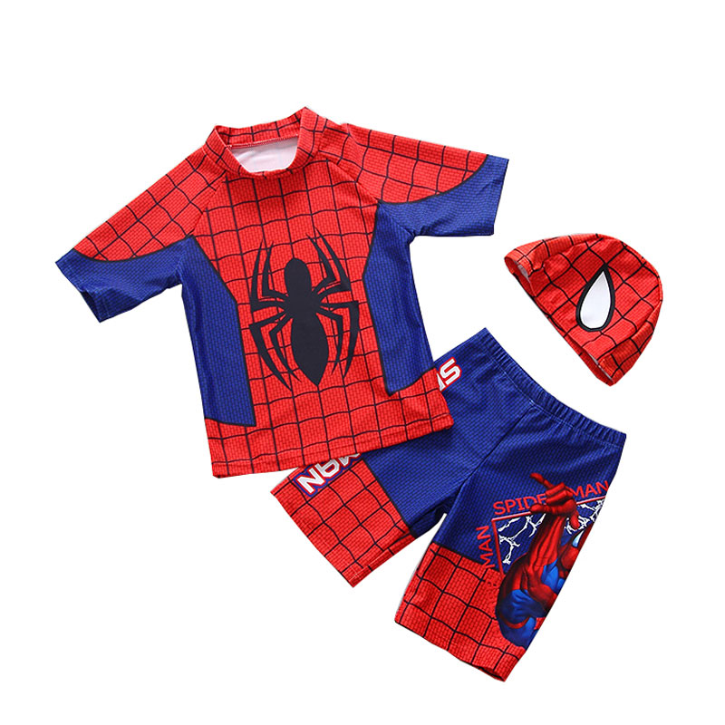 3 Pieces Spiderman Boys Swimwear Summer Baby Kids Swimsuits Swimming Clothes 2018 Beach Surfing Bathing Suits 2-7 Years цена