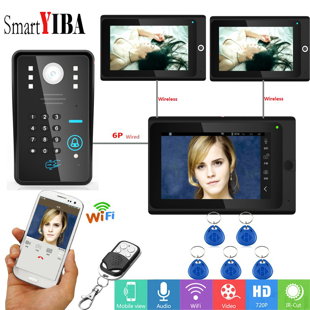 SmartYIBA Video Intercom Wifi Wireless Video Door Phone Doorbell Camera Monitor System With 3x7 Inch Monitor(2 wireless,1 wired)