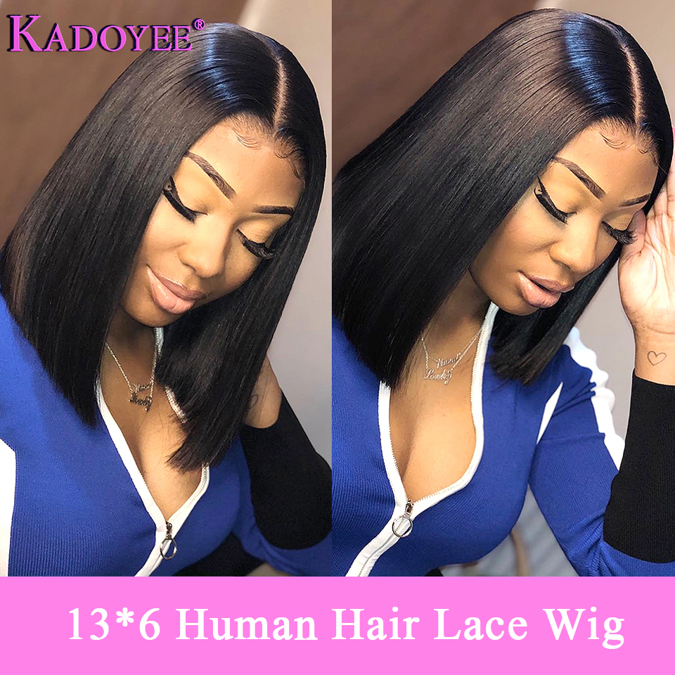 Short Bob Lace Front Human Hair Wigs 13 6 Glueless Middle Part Straight Frontal Wig Pre