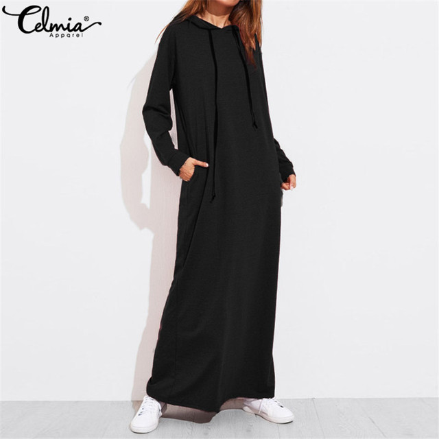 Celmia Plus Size Women Maxi Dress Autumn Hooded Dress Sweatshirt Female Long Sleeve Hoodies Winter Pullover Vestido Robe Femme 2