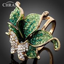 CHRAN золотые вечерние ювелирные изделия кольца элегантные модные хрустальный в форме бабочки Свадебные Кольца для женщин
