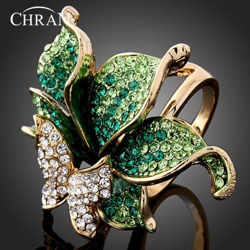 CHRAN Wholesale Gold Color Party Jewelry Rings Elegant Fashion Crystal Butterfly