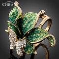 Promoción Joyería Del Partido Plateado Oro de Imitación de Diamante Anillos de Cristal De La Moda Elegante Forma de La Mariposa Anillos de Boda Para Las Mujeres