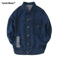 Taxidi Moda Yeni Sonbahar Erkek Denim Ceketler Baskı Mavi Renk Marka giyim erkeğin Slim Fit Için Giysi Erkek Giyim Kot Mont 341