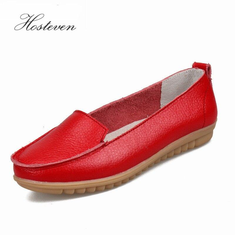 Hosteven Nuevo Zapatos de mujer Mocasines de cuero real Mocasines suaves Ocio Conducción femenina Calzado casual Zapatos