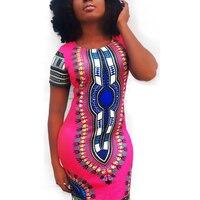 Compras en línea ropa mujer Sexy Bodycon Slim Fit moda O cuello manga corta Mini vestido de estampado étnico L27933
