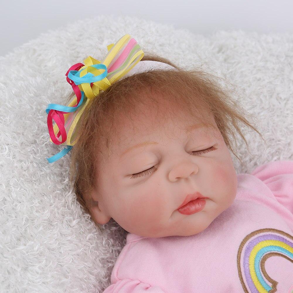 NPKDOLL 17 pouces 43 cm Silicone Reborn bébé poupées vivantes Bebes Reborn réaliste réaliste fille endormie cadeau d'anniversaire jouets - 2