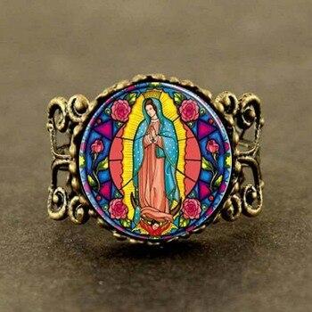 Steampunk onze dame van guadalupe virgin mary heilig hart religieuze gebrandschilderde bezel art ring sieraden nieuwe