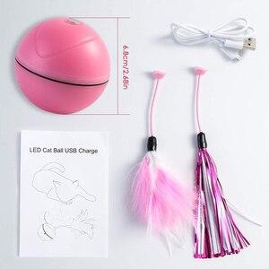 Image 5 - Para Mascotas juguetes para gatos y perros recargable LED de desplazamiento Bolas brillantes con pluma de sonido de campana bolas de silicona ágil formación al gato de juguete