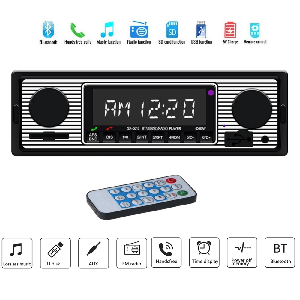 Car Autoradio Bluetooth Vintage Radio Wireless MP3 Multimedia Player AUX USB FM 12V Classic Stereo Audio Player Radio Digital image