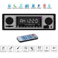 Adeeing Autoradio Bluetooth Vintage Radio Senza Fili MP3 Multimedia Player AUX USB FM 12 V Classico Stereo Audio Player Elettrico r20