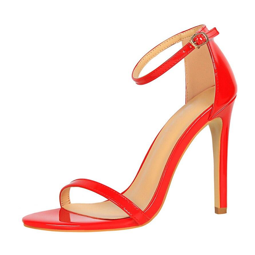 HTB1LNYQhIj B1NjSZFHq6yDWpXaa 2019 Women Size 40 Flock Extreme 11cm High Heels Fetish Sandals Female Gladiator Cheap Strap Shoes Lady Nude Valentine Red Pumps