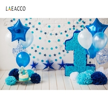 Laeacco Baby 1st Birthday Balloons Flowers Stars Party Photography Background Customized Photographic Backdrops For Photo Studio