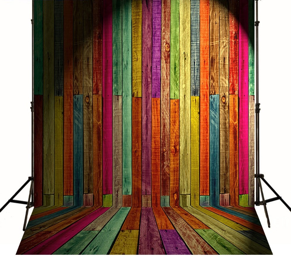 Vintage Wood Colorful Photography Backgrounds Vinyl Cloth High Quality Computer Printed Wooden Photo Backdrop
