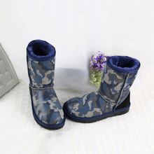 TIIDA 2016 Fashion Camouflage Snow Boots Genuine Sheepskin Leather Warm Wool Inside Winter Boots 100% Natural Fur Women Boots