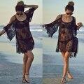 2016 mulheres beach dress sexy strap sheer lace floral bordado crochet vestidos hippie boho vestido de verão dress beach wear