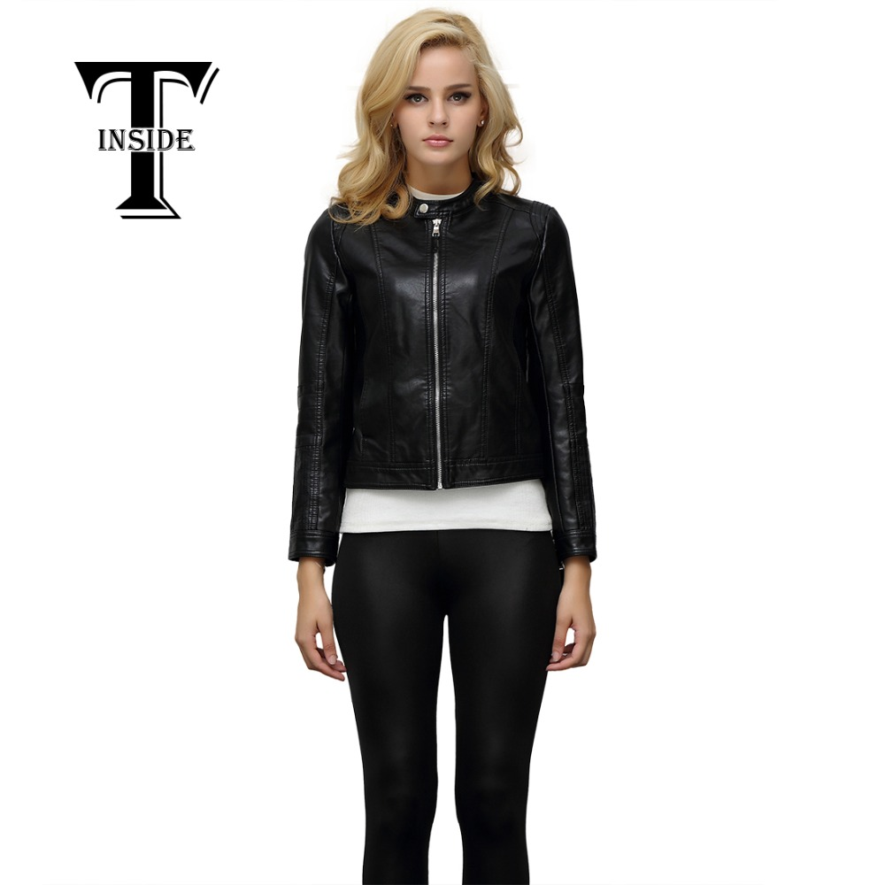 T-INSIDE New Arrival 2016 Autumn Winter Fashion Cool Wear PU Leather Jacket Women Motorcycle Jackets Slim Female Hot Sale