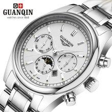 Brand Gold Luminous GUANQIN Watch Men Moon Phase Waterproof 30m Luminous Quartz Watch Luxury Analog Wristwatch Week Display