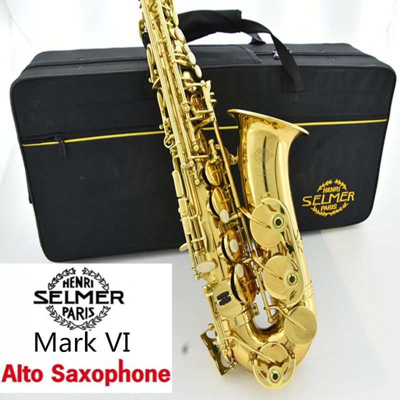 Free Copy Selmer Mark VI Alto Saxophone Near Mint 97% Original Lacquer Gold Sax Alto Eb with mouthpiece ,case,gloves