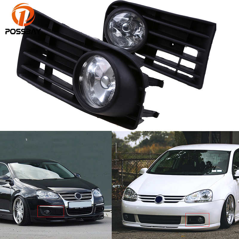 POSSBAY Yellow Fog Light for VW Jetta/Bora/Golf Mk5 2004-2010 Front Lower Bumper Grilles Fog Light Lamp Assembly dwcx 1j5853665b 1j5853666c front lower grille bumper vent for volkswagen vw jetta bora mk4 1999 2000 2001 2002 2003 2004