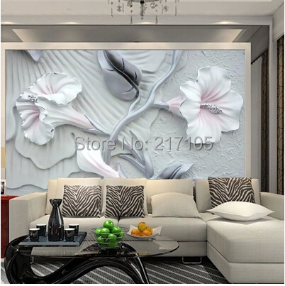 Custom 3D Stereo Brick Wall Lily Flower Wallpaper Mural For Living Room Dining TV Backdrop Vinyl In Wallpapers From Home
