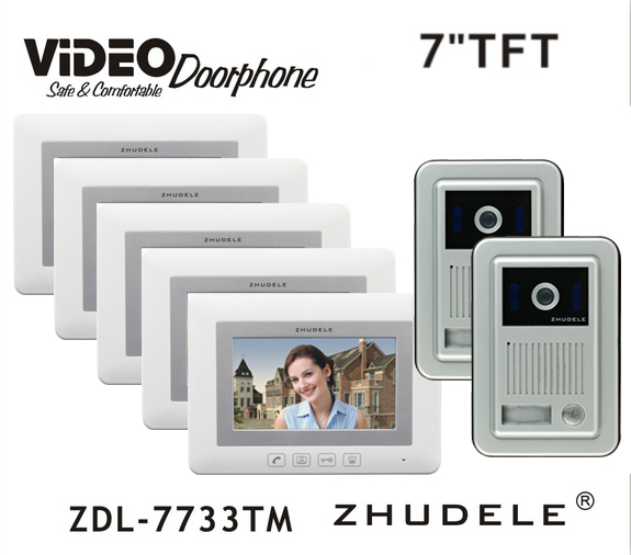 ZHUDELE Home Intercom System Doorbell Kits 7 LCD monitor Speakerphone Color Video Door Phone HD Camera support CCTV Camera 2V5