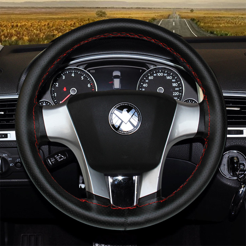 Top Layer Leather DIY Steering Wheel Covers for Car Bus Truck 36 38 40 42 45 47 50cm Diameter Auto Steering wheel cover in Steering Covers from Automobiles Motorcycles