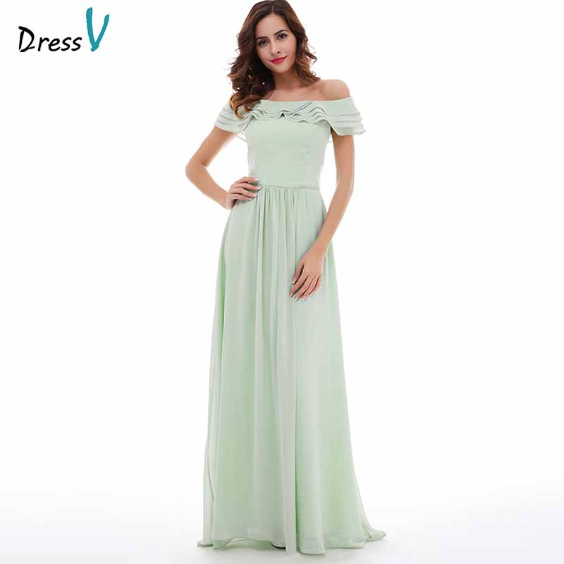 Dressv Mint Evening Dress Cheap Off The Shoulder A Line Ruffles Floor Length Wedding Party Formal Dress Evening Dresses