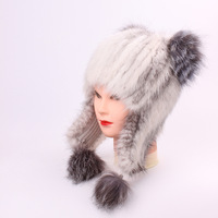 Mink Fur Ma'am Fox Hair Bulb Hats Manual Sew High Archives Leather And Fur Winter Keep Warm Hats Woman russian hat