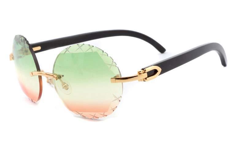 two-tone Cut lenses black buffalo horn sunglasses 3524012(C), gold (1)