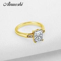 AINUOSHI 10k Gold Solitaire Ring Pure Yellow Gold Women Wedding Ring Rectangle Cut Simulated Diamond Jewelry Joyas de oro Ring