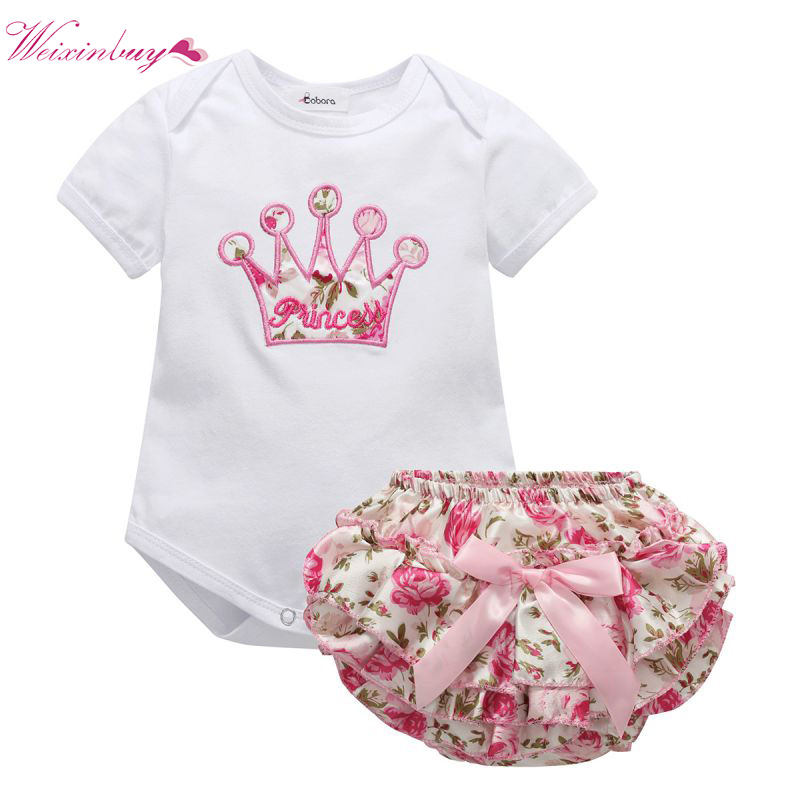 2Pcs/Lot Summer Infant Baby Girls Clothing Sets Cotton Flower Print Romper+Shorts Baby Sets  Girl Clothes