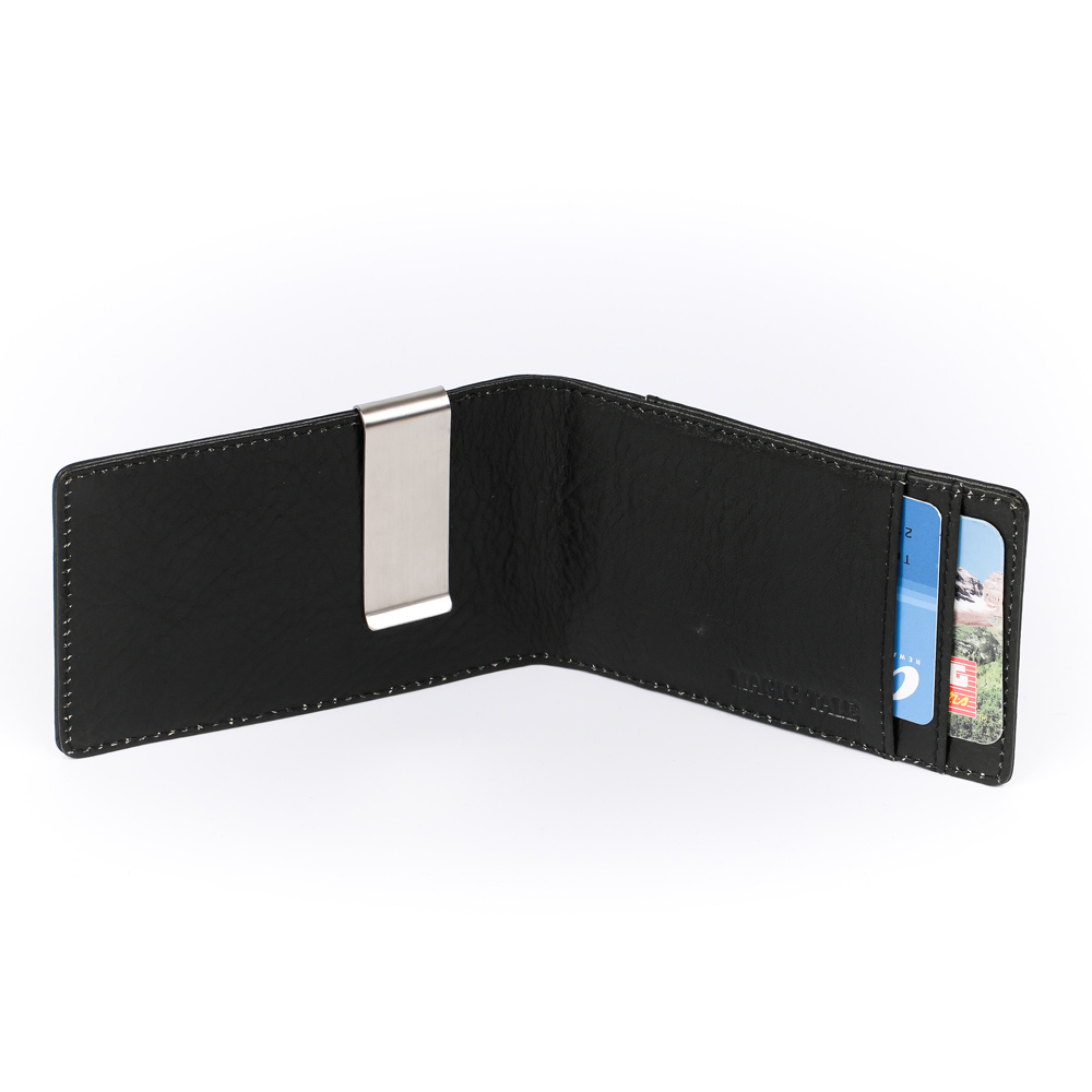 MT European And American Genuine Leather L Short Magic Money Clips For Man Italian Leather Business Card Billfold Clip